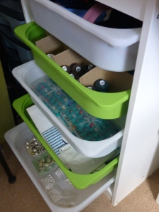 Shallow drawers are really useful for lots of small objects like bobbins, beads and zips.