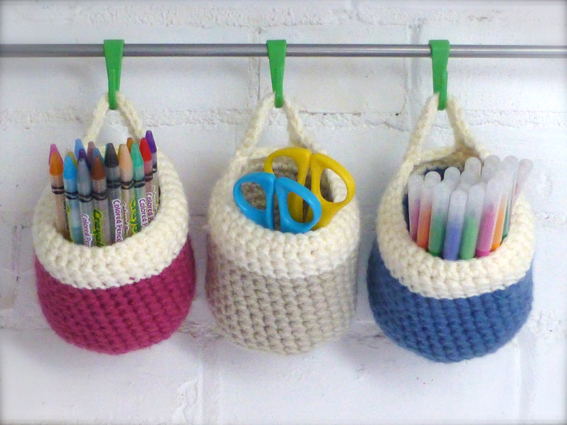 Small Crochet Storage Baskets Sewchet