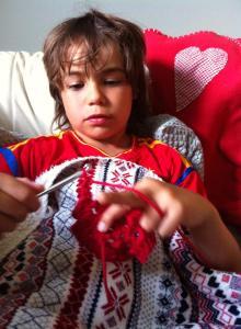 Bertie crocheting