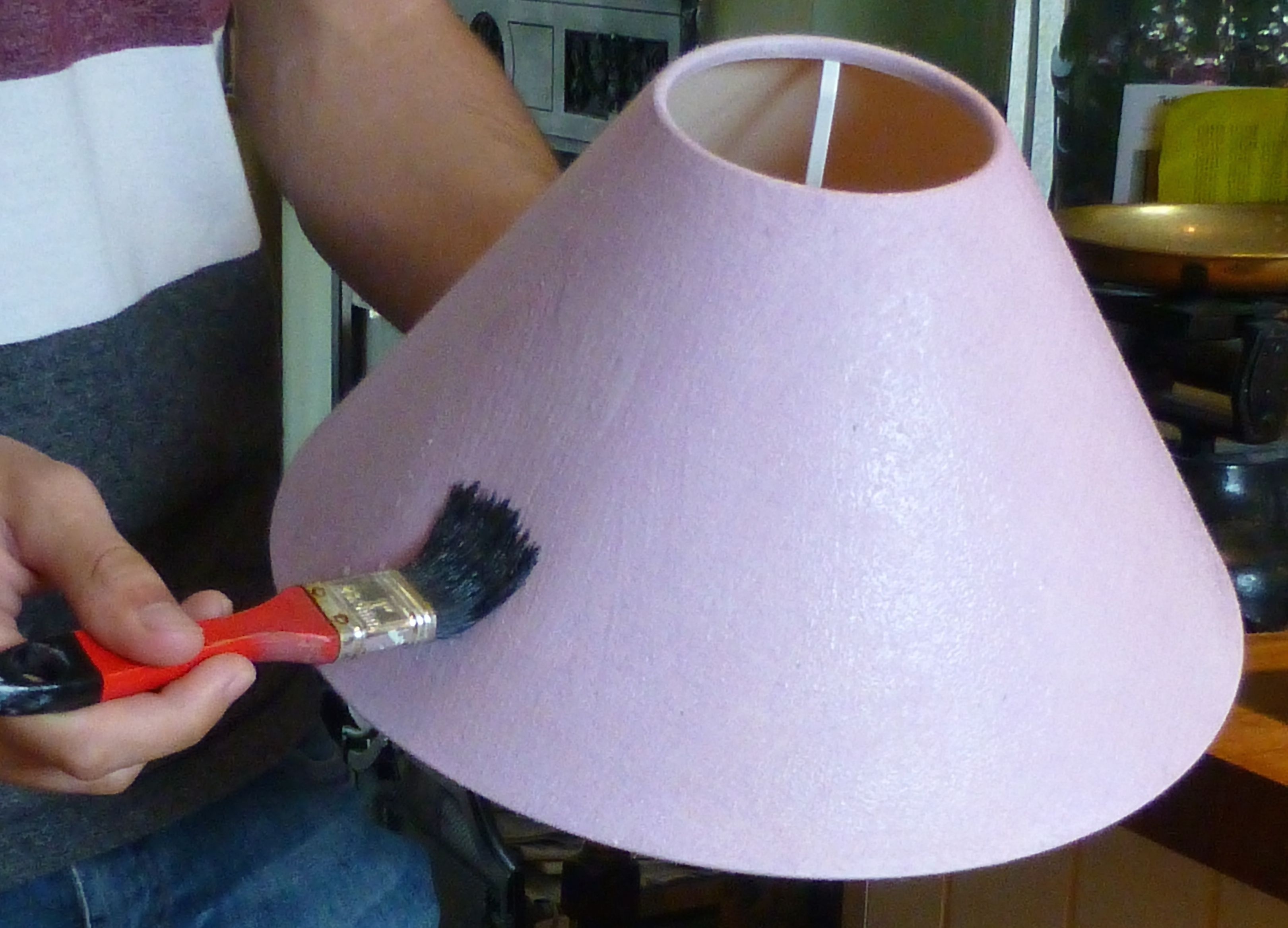 Tutorial how to cover a lampshade and use chalk paint to upcycle p1030531 aloadofball Gallery