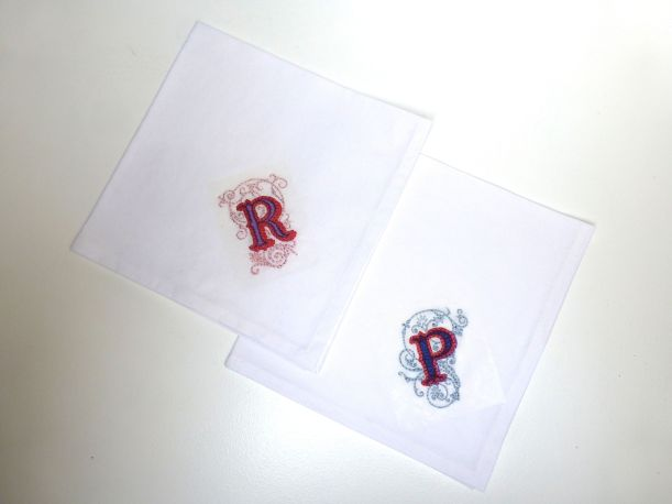 Embroidered monogrammed napkins