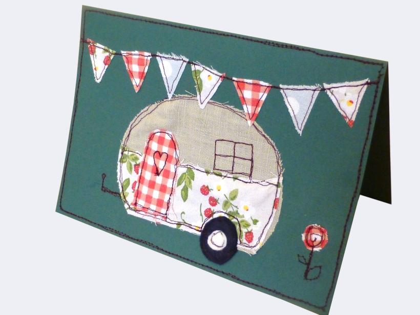 Free machine embroidery caravan birthday card