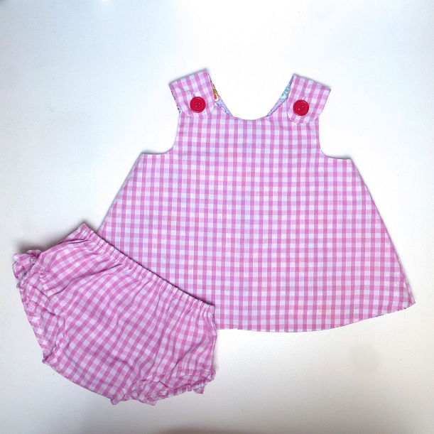 baby wrap over dress and frilly pants front