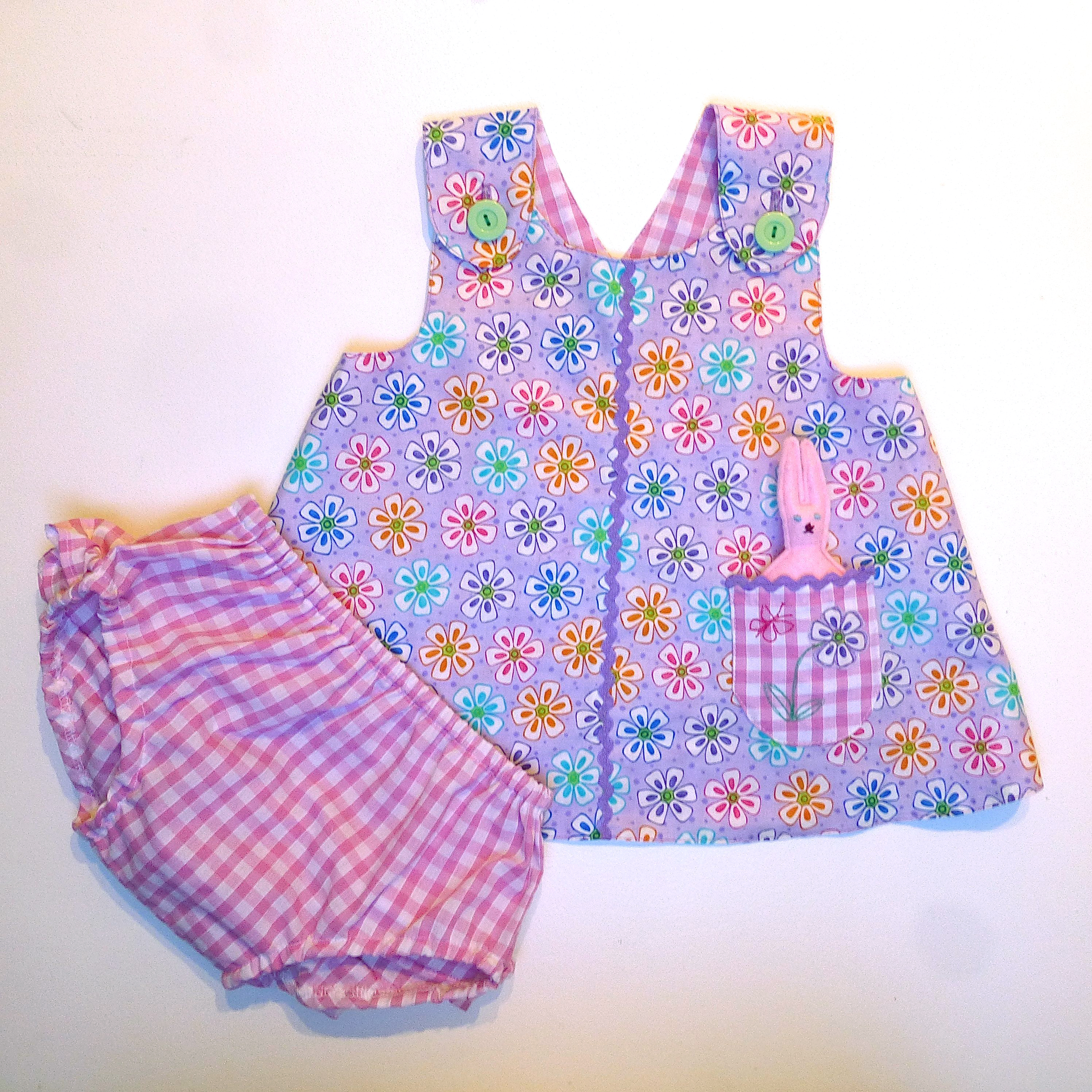 Wrap Dress And Frilly Knickers Diaper Cover For A Baby Or Toddler