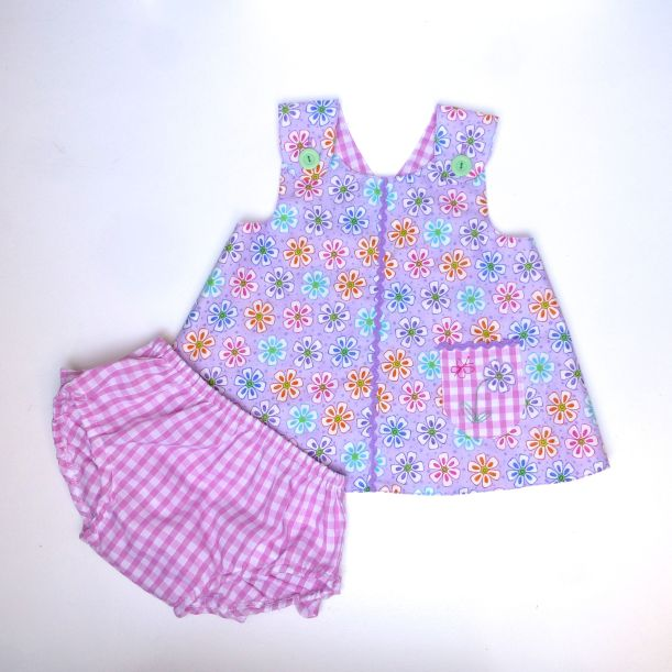 baby wrap over dress and frilly pants