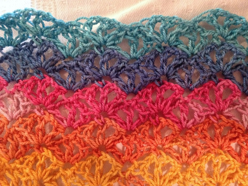 Rainbow shawl WIP stitch pattern