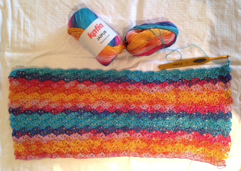 Rainbow shawl WIP