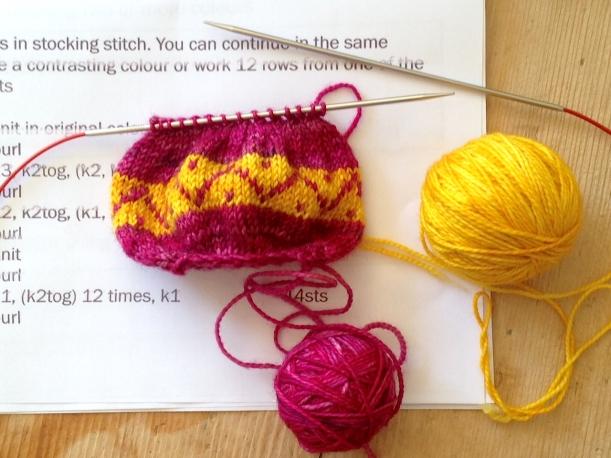 Knitted egg progress