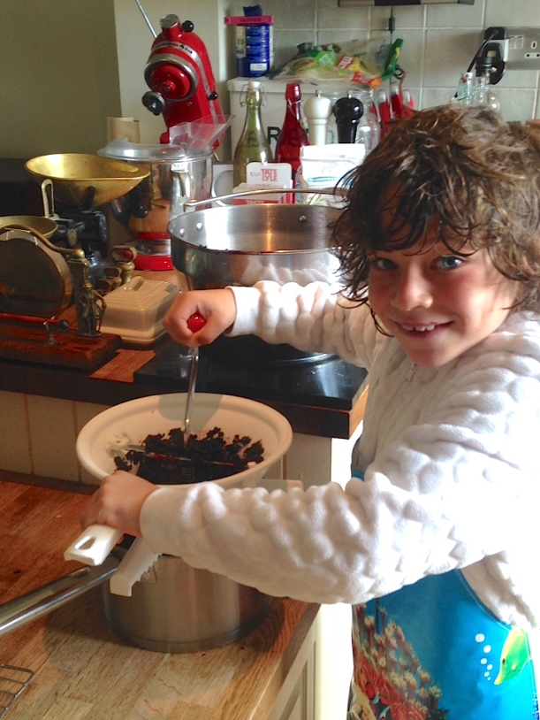 Making Elderberry Jam