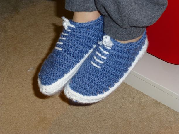 Blue vans crocheted slippers