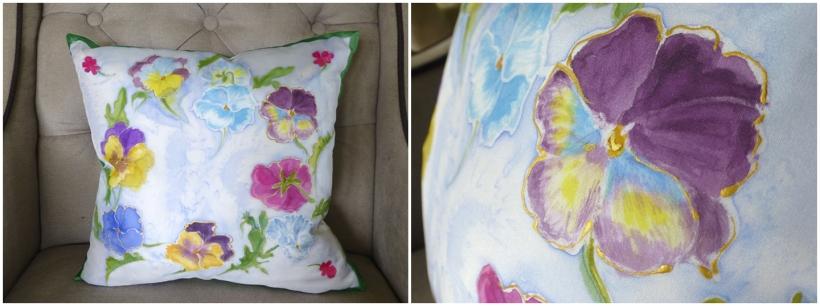silk painted cushion cover