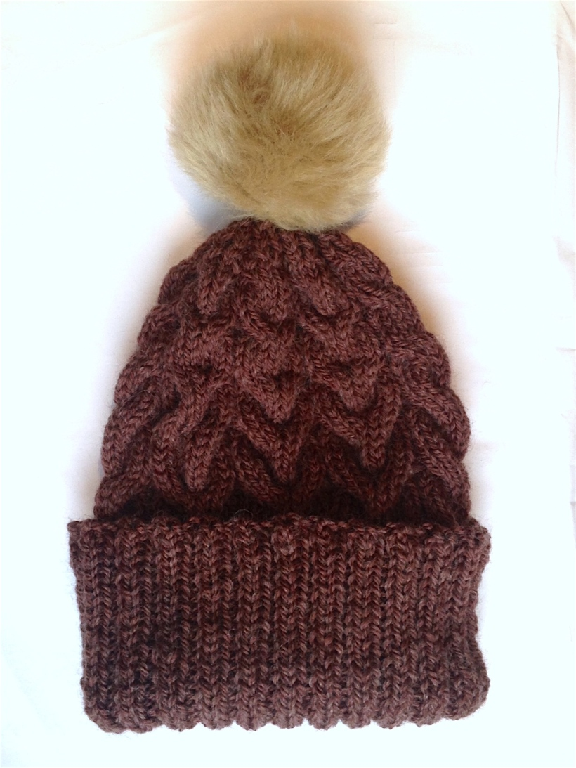 fur pom pom bobble hat